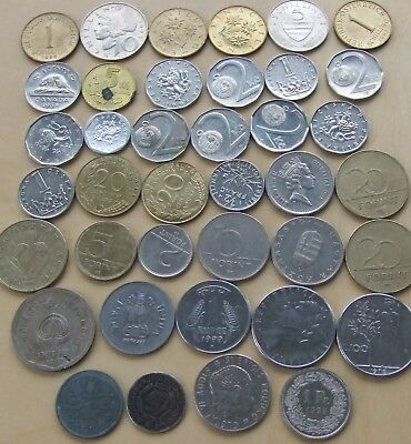 39 old foreign coins from 13 countries: Austria 6, Canada 1, China 1, Czech Repu