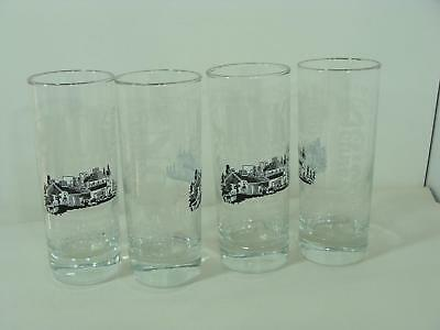 New Set/4 Jack Daniel's Tennessee Old No 7 Whiskey High Ball Glasses Silver Rim