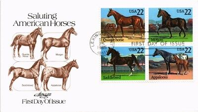 Dr Jim Stamps Us American Horses Block Of Four Fdc Cover 1985 Lexington Kentucky
