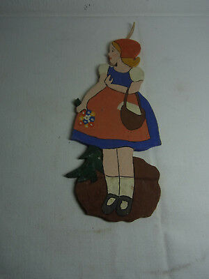 Vintage German Wood Fretwork Little Red Riding Hood #BE