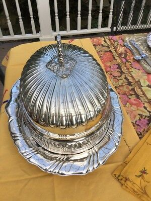 Antique Ornate English Silver Plate Dome & Meat Platter