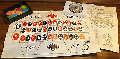 Vintage Miniature Roulette Set Wheel w/ Chips Casino Gaming Gambling Hong Kong