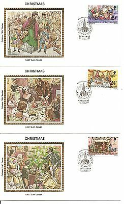 Guernsey SC # 250-254 Christmas 1982 FDC. 5Covers Set. Colorano silk Cachet.