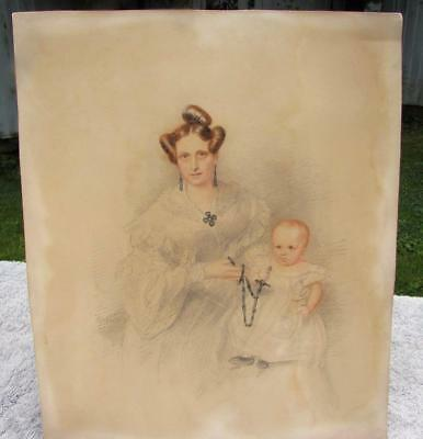 ANTIQUE 19thC GEORGIAN PORTRAIT OF MOTHER AND BABY - DATED 1837 - SIGNED