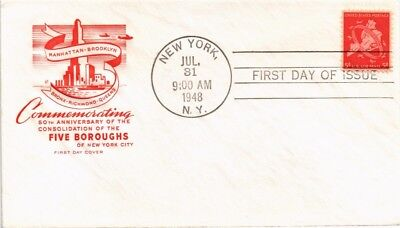 Dr Jim Stamps Us New York Five Boroughs Fdc House Of Farnum Air Mail Cover