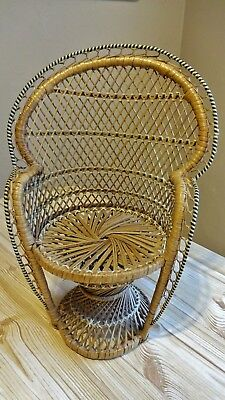 Wicker High Back Chair for Teddy or Dolls Display Excellent Condition.