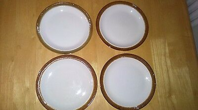 Lovely Vintage Set Of 4 Poole Pottery Chestnut Brown Cake/Side Plates