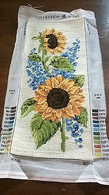 Completed Tapestry Of Sun -Flowers And Blue Flowers