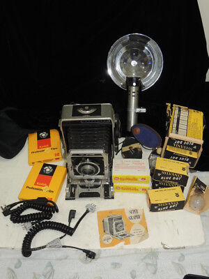Vintage Graflex Super Graphic 4x5 Camera w/ Kodak 127mm Lens Flash & Bulbs