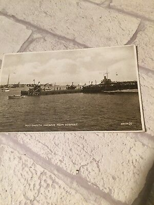 1925 Postcard PC Portsmouth Harbour From Gosport Valentines Photo Brown Series