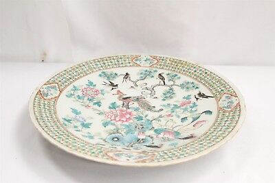 Antique Chinese Enamel Painted Bird of Paradise 4 Character Mark Charger Ducks