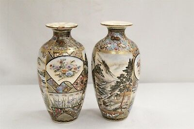 Vintage Pair of Japanese Satsuma Signed Cabinet Vases Gold Butterfly Families