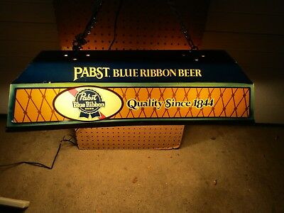 """PABST PBR vintage 30"""" LONG  POOL TABLE  HANGING LIGHTED sign man cave"""