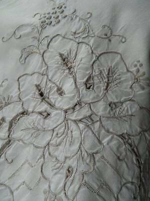 "Vintage huge 11ft cream hand embroidered banquet tablecloth 132""x 64"" (3.3m)"