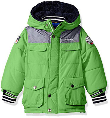 London Fog Boys Green & Navy Heavyweight Parka Coat Size 2T 3T 4T 4 5/6 7