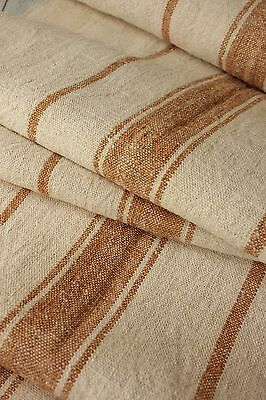 Grain sack grainsack fabric vintage linen 9 yds X 21.5  WASHED upholstery old