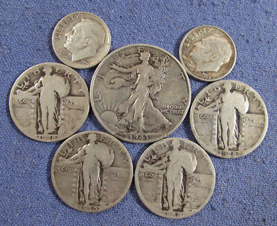 Lot 7 Us Silver Coins 1943 Walking Liberty Half 4 Standing Liberty Quarters Etc