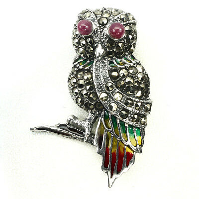 Awesome Top Rich Red Pink Ruby Marcasite 925 Sterling Silver Enamel Owl Brooch