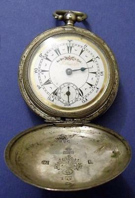 Antique Brenets Solid Silver Hunter Cased Ottoman Turkish Fob Pocket Watch