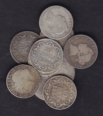 1865-1896 Newfoundland Victoria Silver 10 Cents Lot Of 10