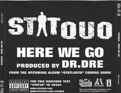 Stat Quo Here We Go PROMO MUSIC AUDIO CD Dr. Dre Clean Dirty Acapella Instrument