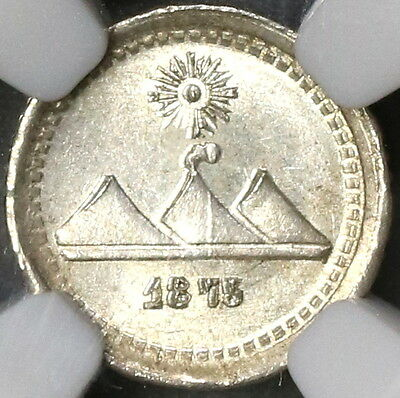 1875-P NGC MS 65 GUATEMALA Silver 1/4 Real Volcanos Coin POP 3/1 (17082004C)
