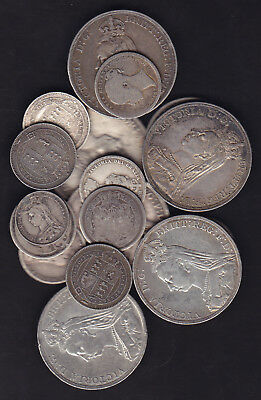 1800's Great Britain Silver Coins Lot Of 17