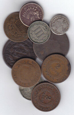 1812-1881 Usa 1, 2, 3 & 5 Cents Lot Of 10