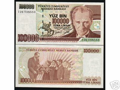 Turkey 100000 100,000 Lira P206 1970 *bundle Horse Ataturk Unc Currency 100 Note
