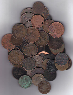 1800's Canadian Tokens Lot Of 50