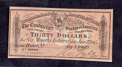 Coupon OF 30 Dollars From The confederates States Of America 1865 Aunc