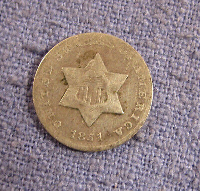 1851 United States 3 Cent Silver Three Cents
