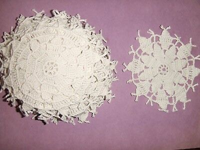 """VTG 10 QUEEN ANNE DOILIES-Crocheted 5""""X 5""""-Fringe Points - Cut from Tablecloth"""