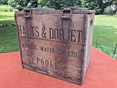 Antique Hinged Wood Crate Box HANTS & DORSET MINERAL WATER Poole England