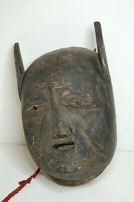 Antique African Tribal Art Hand Carved Wooden Mask Primitive Mask with Ears