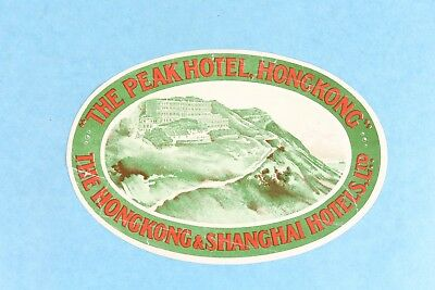 Vintage The Peak Hotel Hong Kong, China Luggage Label Sticker Decal Unused