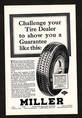 1930 MILLER Rubber vintage Original Print AD - Challenge your tire dealer...