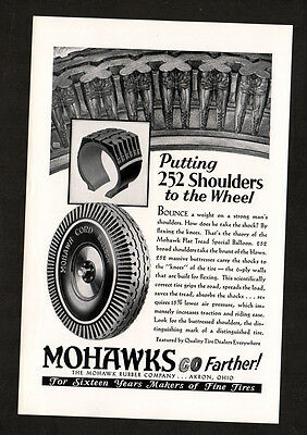1929 MOHAWKS cord balloon Tires vintage Original Print AD Putting 252 shoulders