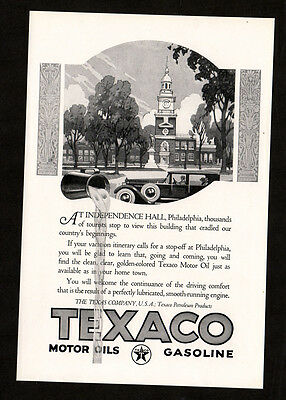 1924 TEXACO gasoline vintage Print AD - Independence Hall Philadelphia art