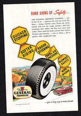 1948 GENERAL Squeegee Tires vintage Original Print AD White sidewall, sighs art
