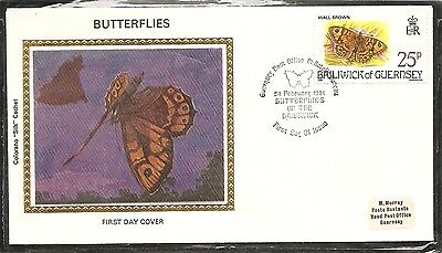 Guernsey SC # 221 Butterflies - Wall Brown- FDC.Colorano Cachet.