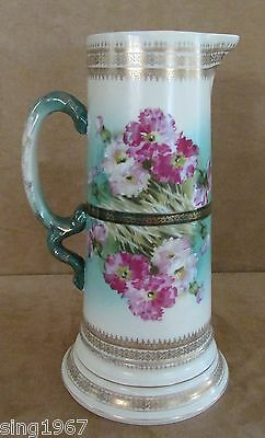 Austrian porcelain pitcher Eleanor China Austria floral gold gilt antique green