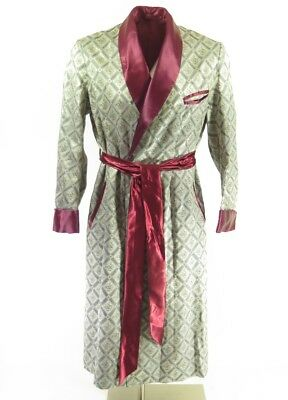 Vintage 50s Silver Brocade Robe Mens M Classical Plaid Red Liner w Belt