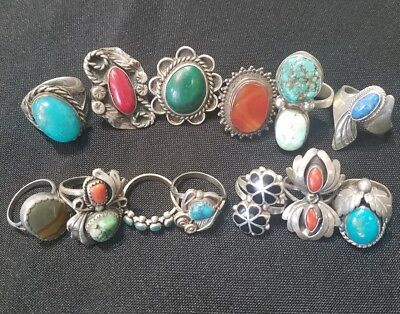 Lot of 13 BIG OLD PAWN VINTAGE Navajo Native American Sterling Silver RINGS