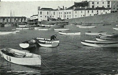 Tenby The Harbour Man In Rowingboat 1963 Real Photo Postcard