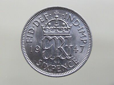 "1947 Stunning ""Lucky"" Sixpence. Ideal 70th Birthday Gift. FREE POSTAGE (K44)"