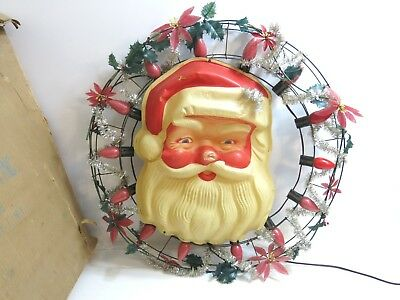 """Vintage 24"""" Christmas Wreath With Thin Plastic Santa Claus Face By Timco W/ Box"""