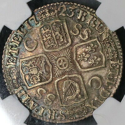 1723 NGC AU 55 South Seas Co George I Silver Shilling GREAT BRITAIN (17072101C)