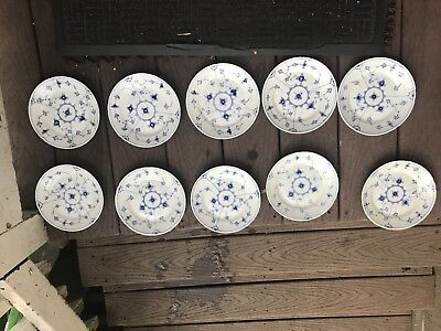 B&G Bing & Grondahl Copenhagen Denmark Fluted Blue Floral Bread Plates Set Of 10