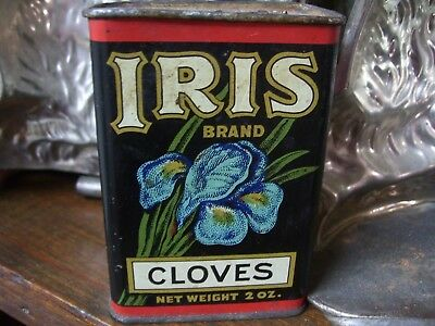 Vintage Iris Brand Cloves Spice Tin~2 Oz~Haas, Baruch & Co~Los Angeles, Calif~
